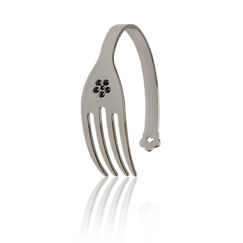 molto carino a7e31 f5ded bracciale forchetta color Argento con swarovski neri